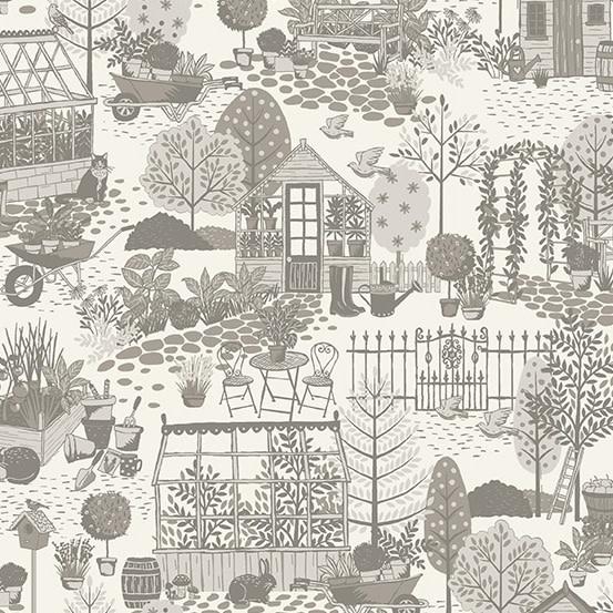 MAKOWER Claras Garden, Garden Scene, Grey per cm or $20/m