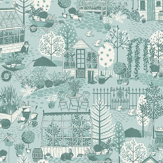 MAKOWER Claras Garden, Garden Scene, Blue per cm or $20/m
