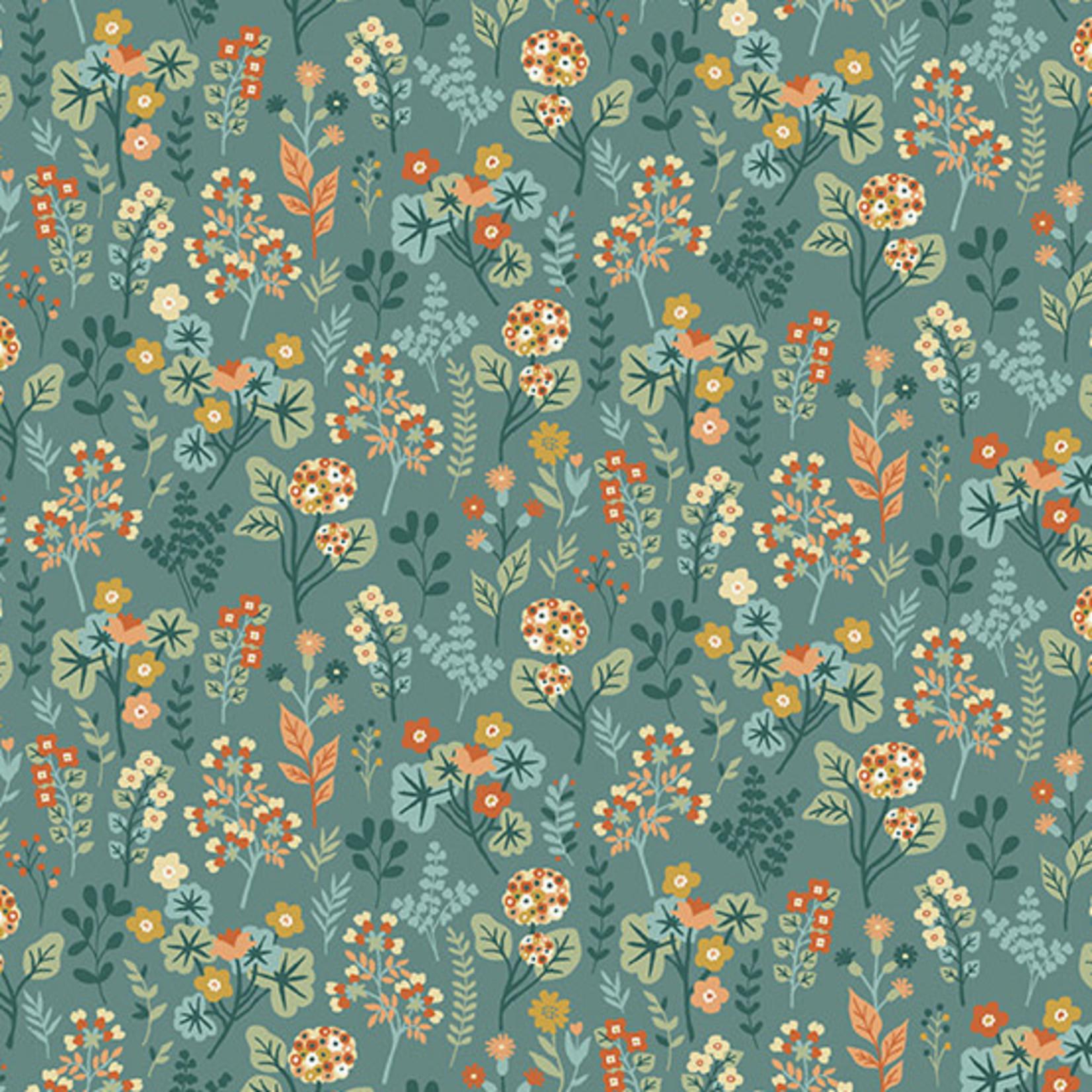 Makower Claras Garden, Plants, Blue per cm or $20/m