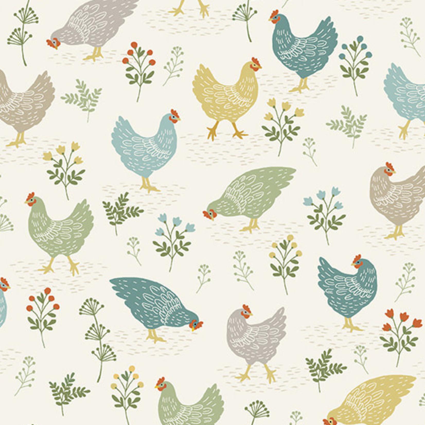 MAKOWER Claras Garden, Chicken, Cream per cm or $20/m