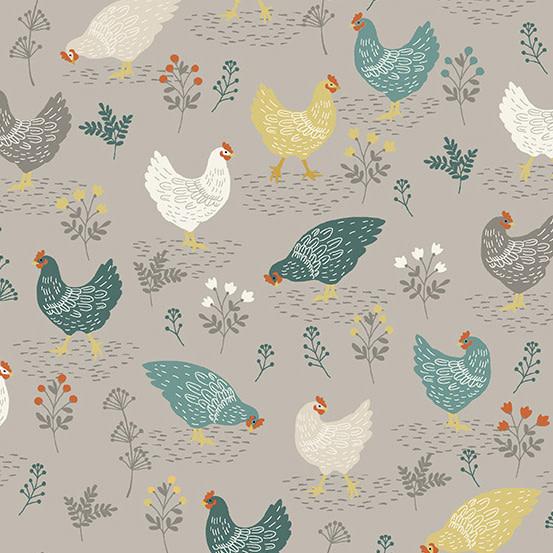 MAKOWER Claras Garden, Chicken, Grey per cm or $20/m