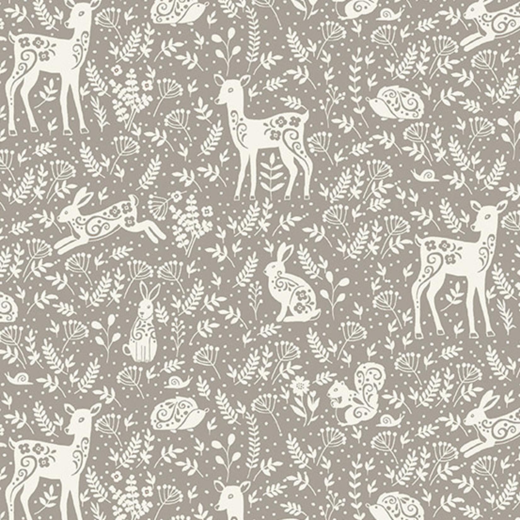 MAKOWER Claras Garden, Animals, Grey per cm or $20/m