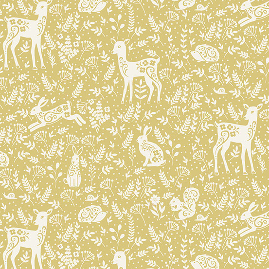 MAKOWER Claras Garden, Animals, Yellow per cm or $20/m