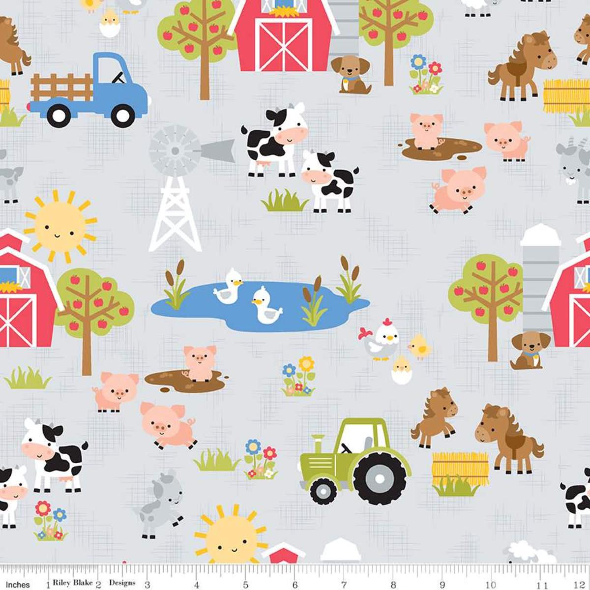 RILEY BLAKE DESIGNS DOWN ON THE FARM, MAIN, GRAY PER CM OR $20/M