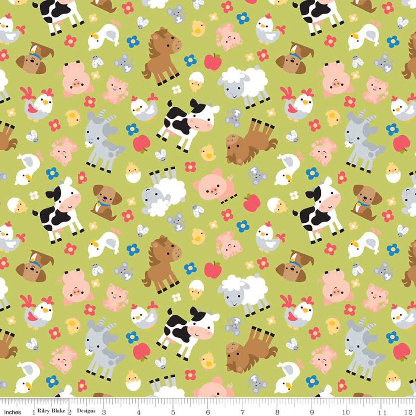 RILEY BLAKE DESIGNS DOWN ON THE FARM, ANIMALS, GREEN PER CM OR $20/M