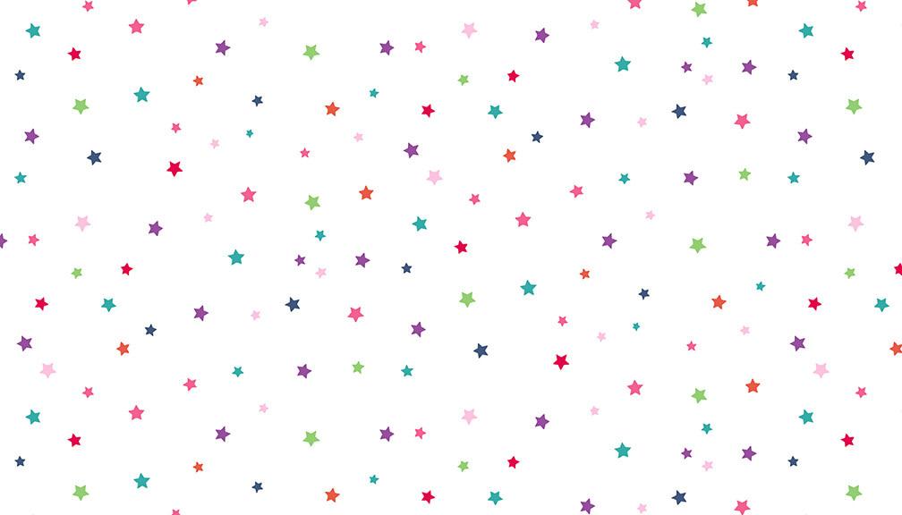 Makower UK DayDream - Multi Stars on White -  PER CM OR $19/M