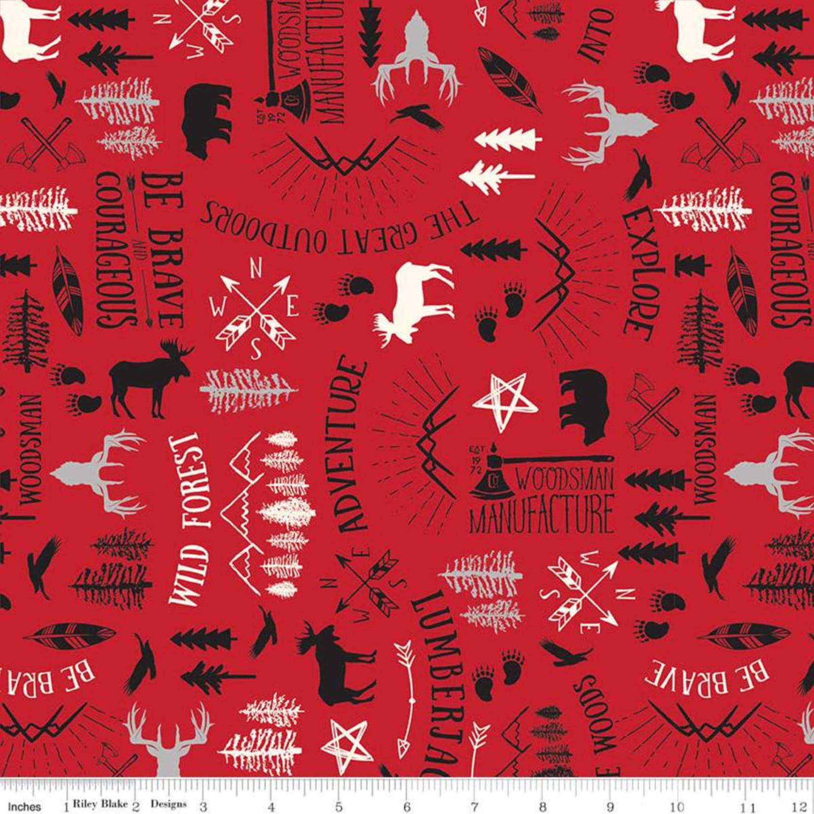 RILEY BLAKE DESIGNS WILD AT HEART, MAIN, RED C9820 PER CM OR $20/M