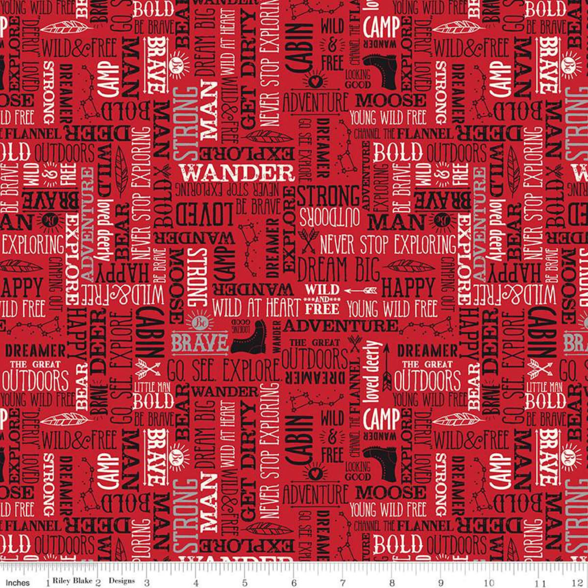 RILEY BLAKE DESIGNS WILD AT HEART, WORDS, RED C9826 PER CM OR $20/M