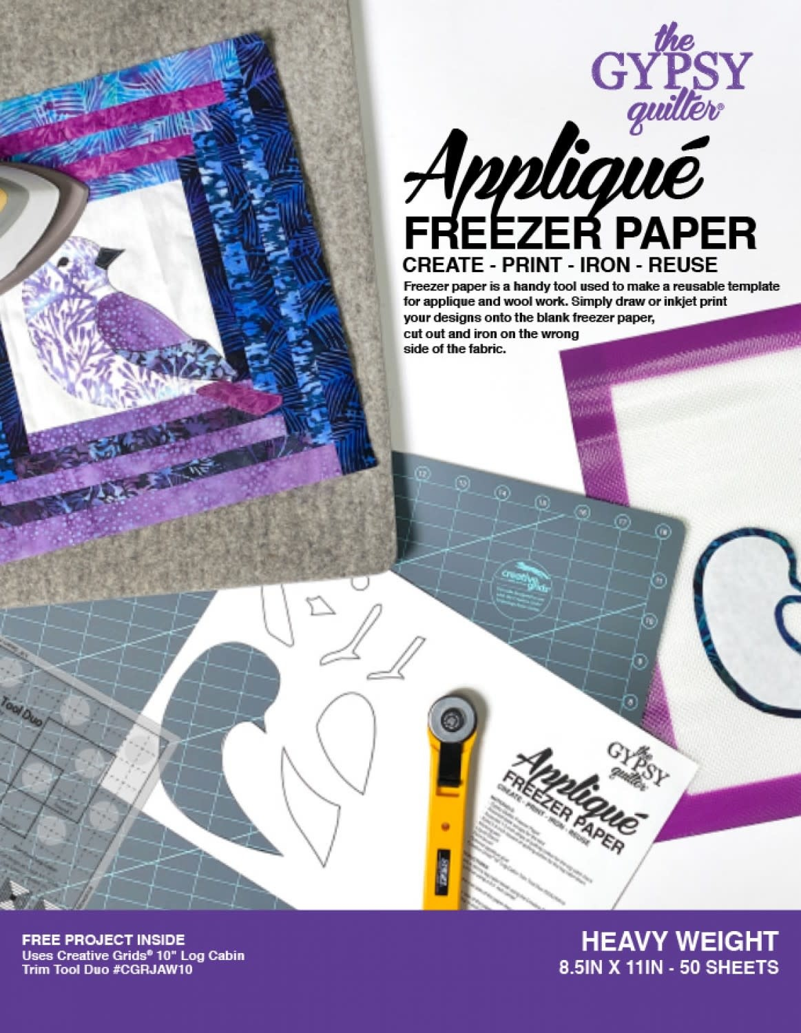 THE GYPSY QUILTER Freezer Paper 8 1/2in x 11in Heavy Weight 50ct