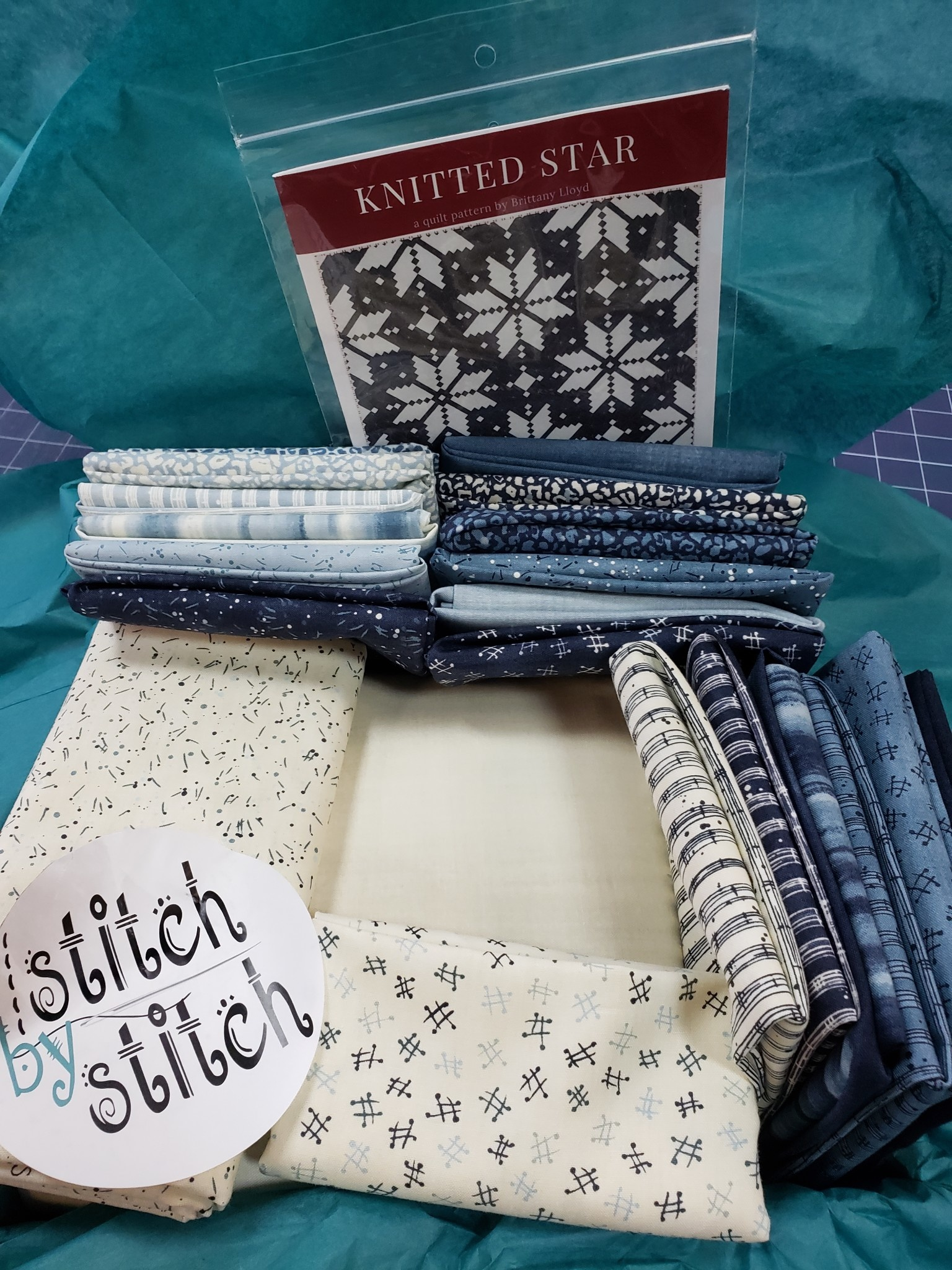 "MODA Knitted Star - The Blues - Kit for 93"" Square Quilt Top"