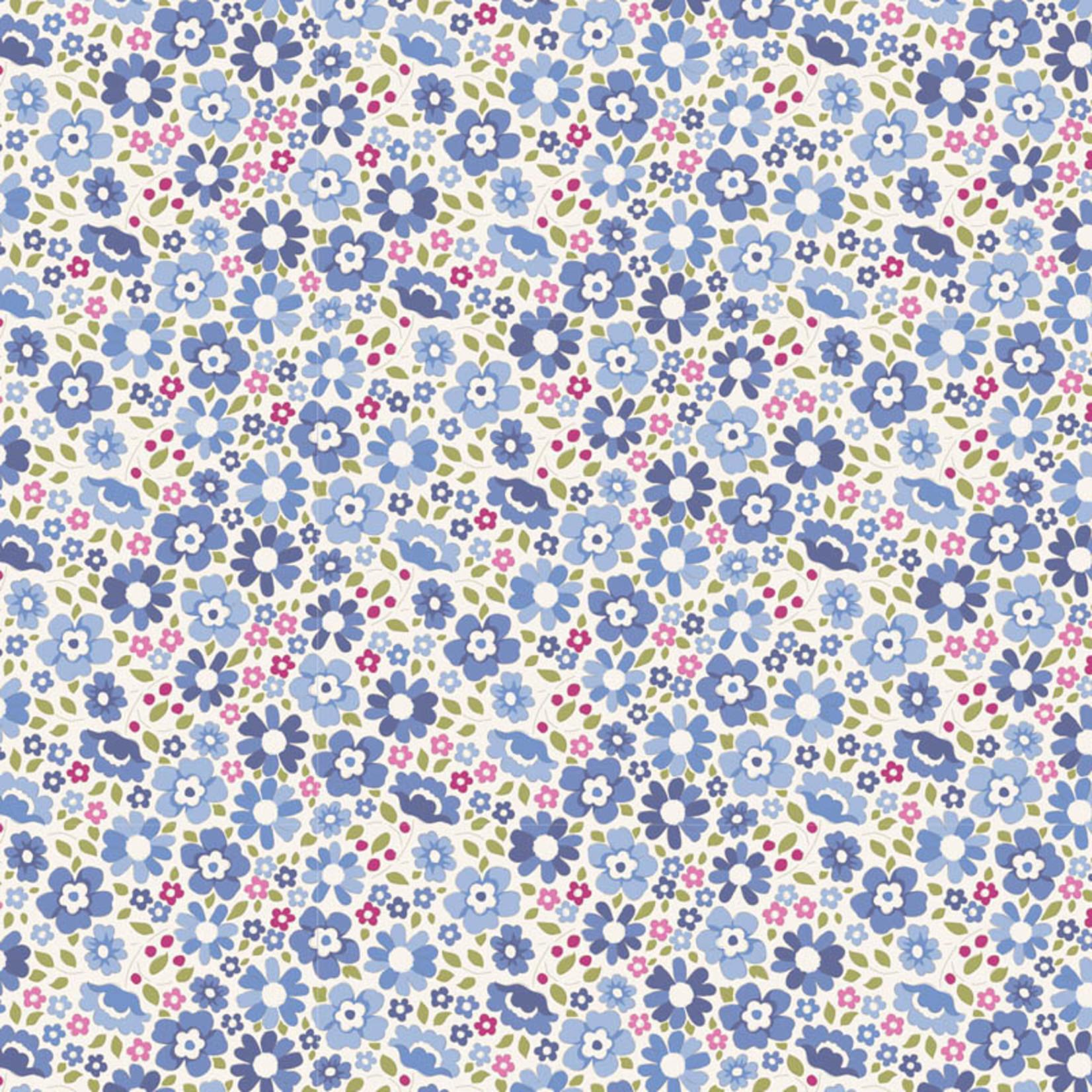 Tilda Woodland, Clara Flora, Blue 100285 per cm or $20/m
