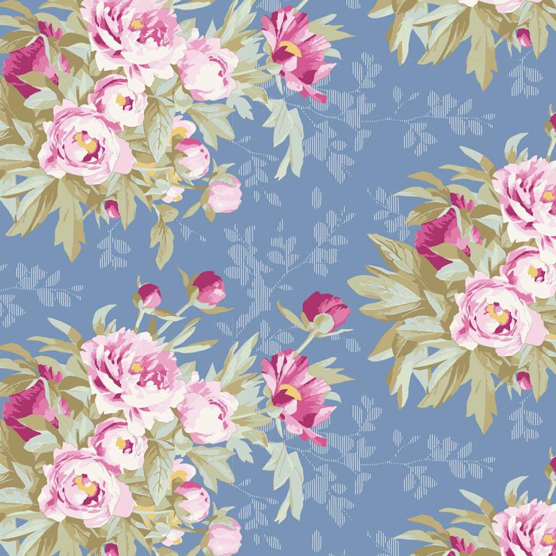 tilda Woodland, Hazel Large Flora, Blue 100282 per cm or $20/m