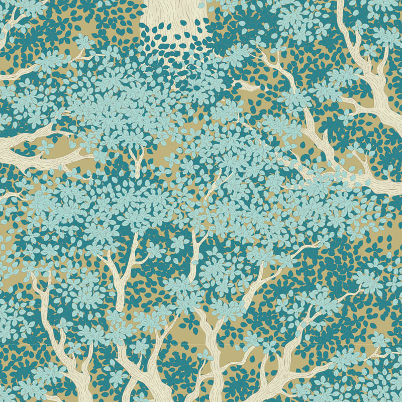 tilda Woodland, Juniper, Teal 100298 per cm or $20/m