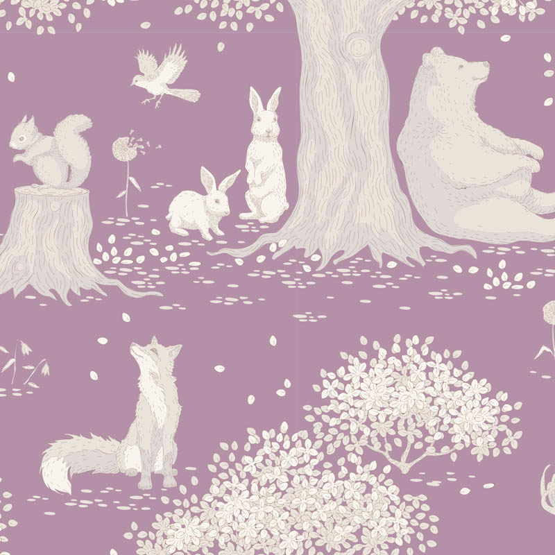tilda Woodland, Animals, Mauve 100287 per cm or $20/m