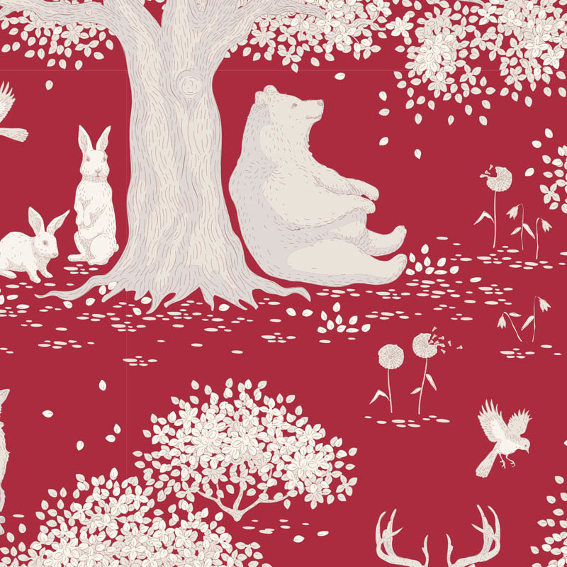 tilda Woodland, Animals, Carmine Red 100293 per cm or $20/m