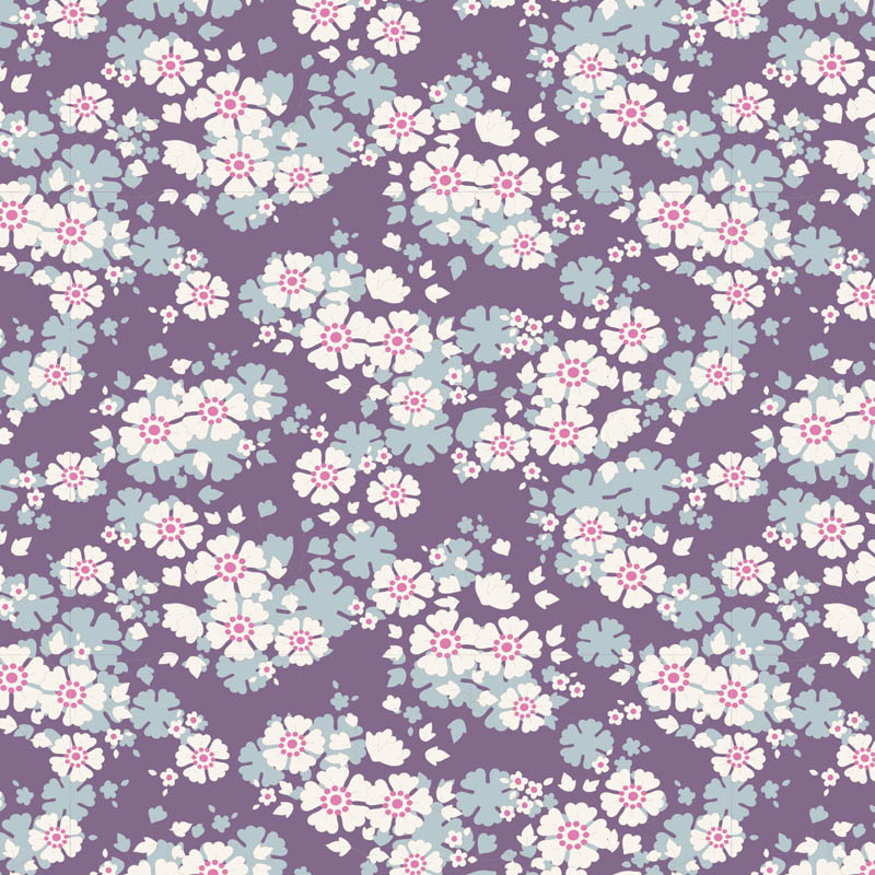 tilda Woodland, Aster Floral, Violet 100286 per cm or $20/m