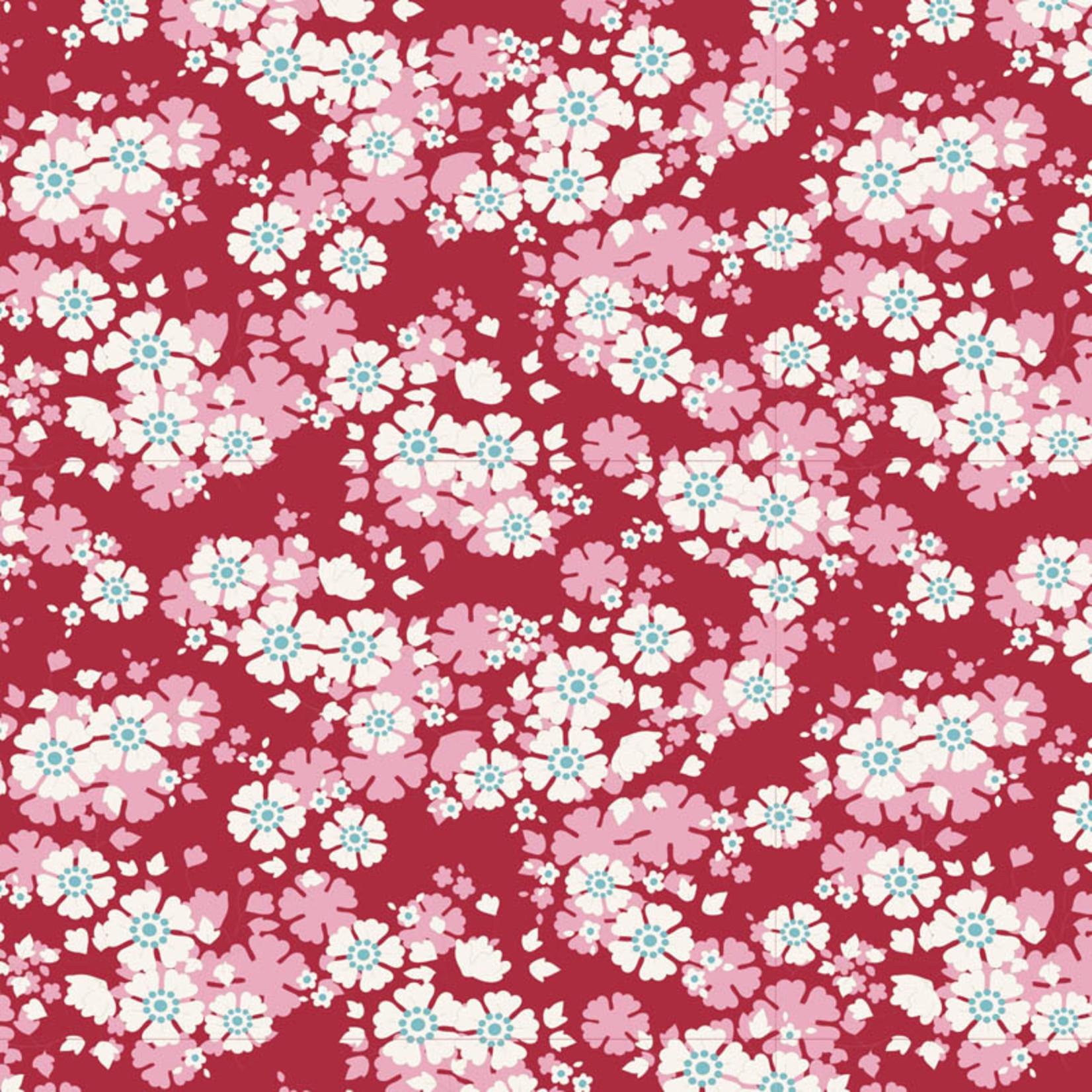 Tilda Woodland, Aster Floral, Carmine Red 100295 per cm or $20/m