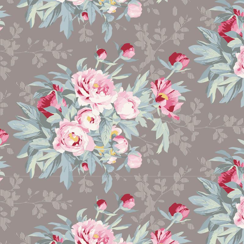 tilda Woodland, Hazel Large Flora, Grey 100292 per cm or $20/m