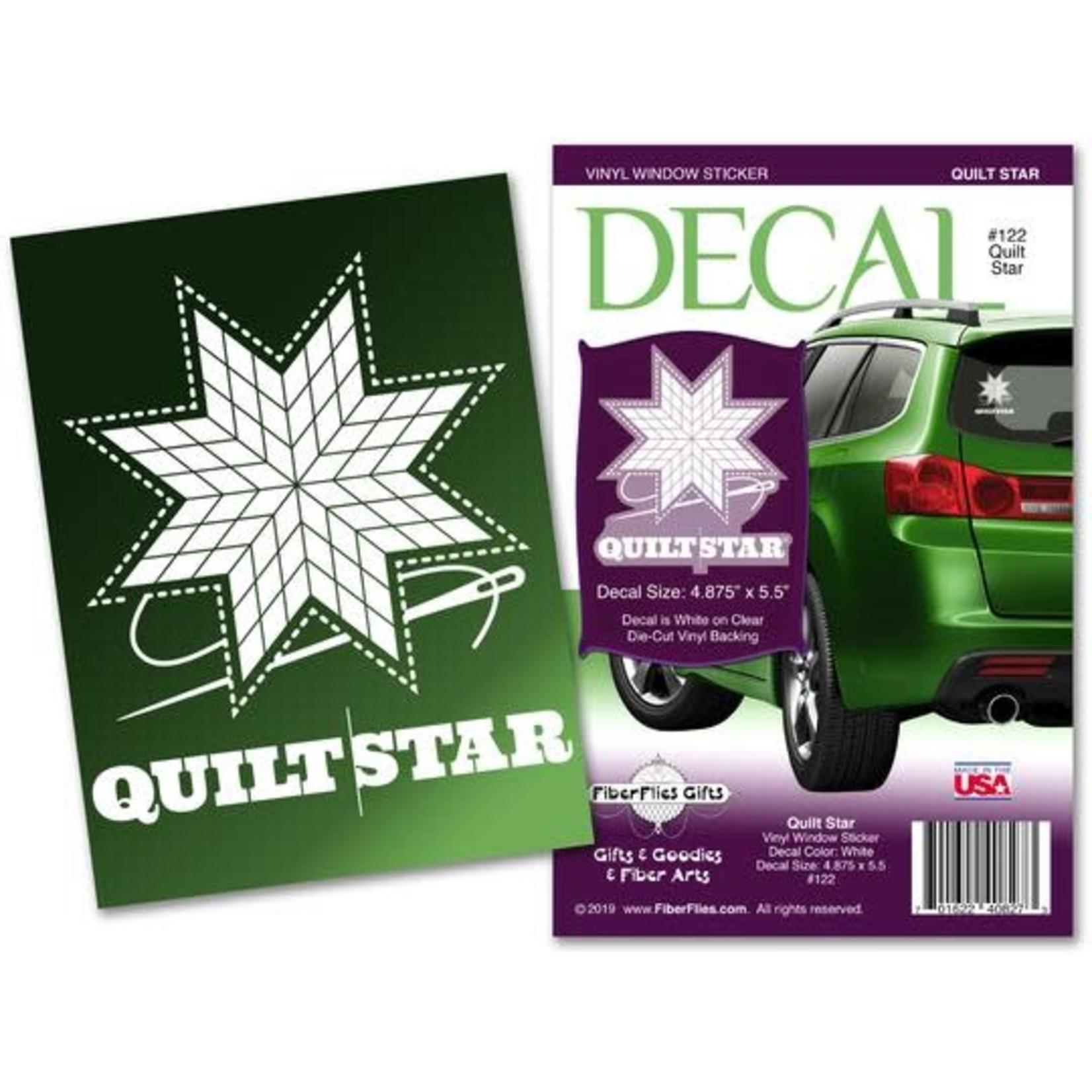 Fiber Flies Gifts Quilt Star - White - Vinyl Window Decal