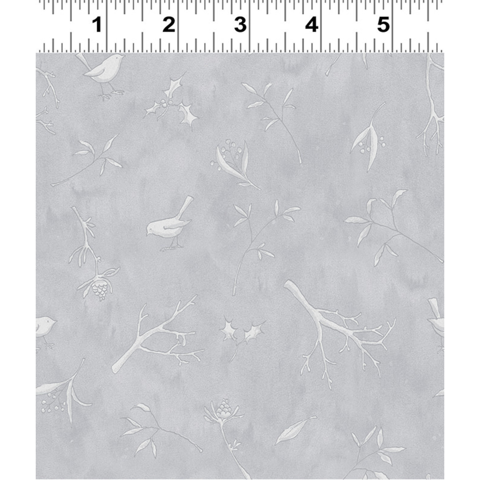 Clothworks Guess How Much I Love You, Sprigs, Grey (Y3083-119) per cm or $20/m