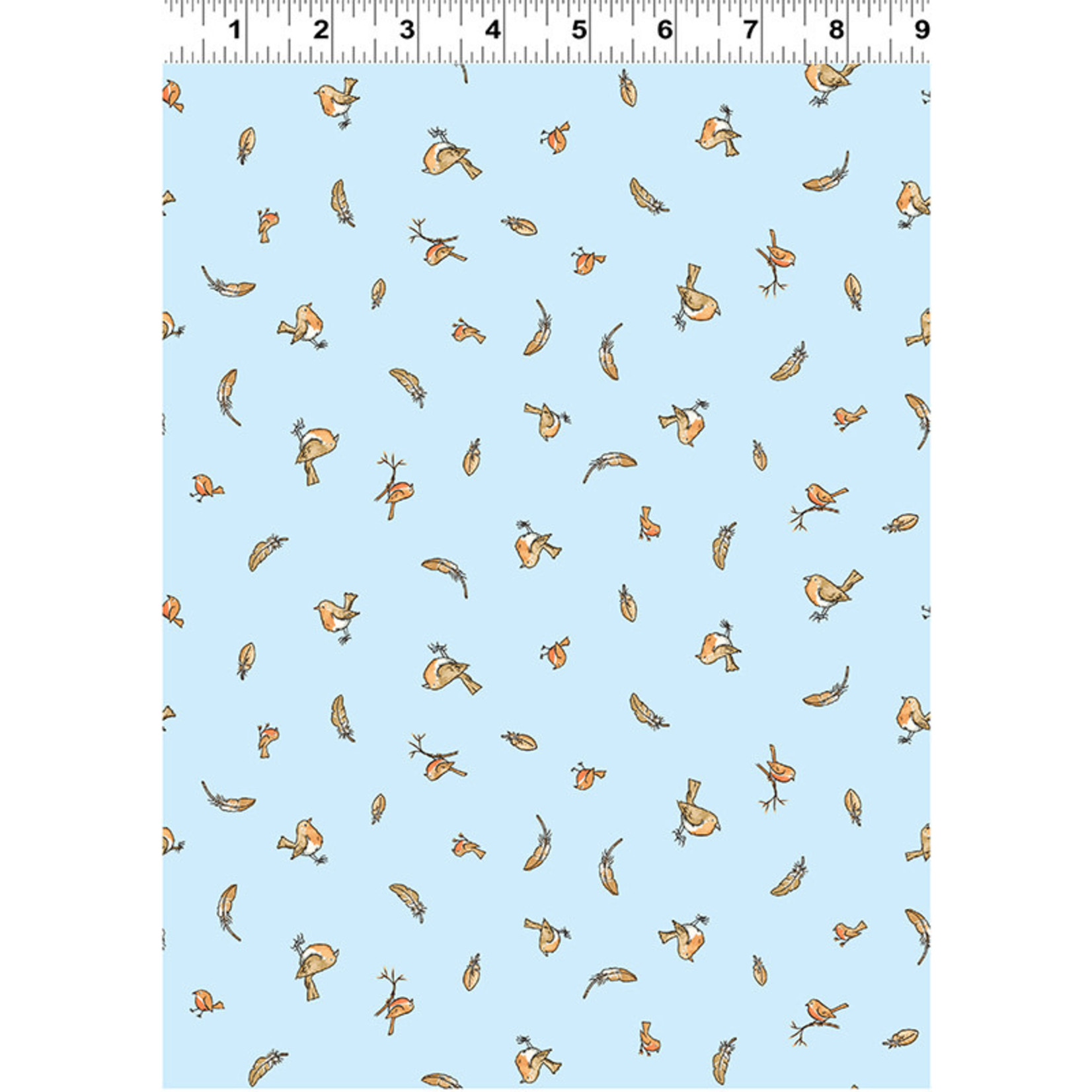 Clothworks Guess How Much I Love You, Tossed Birds & Feathers, Blue (Y3082-29) per cm or $20/m
