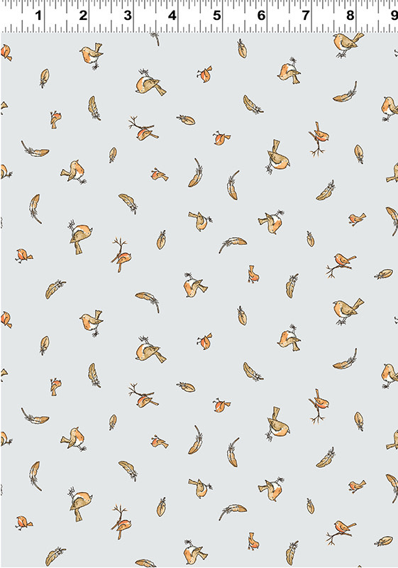 Clothworks Guess How Much I Love You, Tossed Birds & Feathers, Grey (Y3082-118) per cm or $20/m