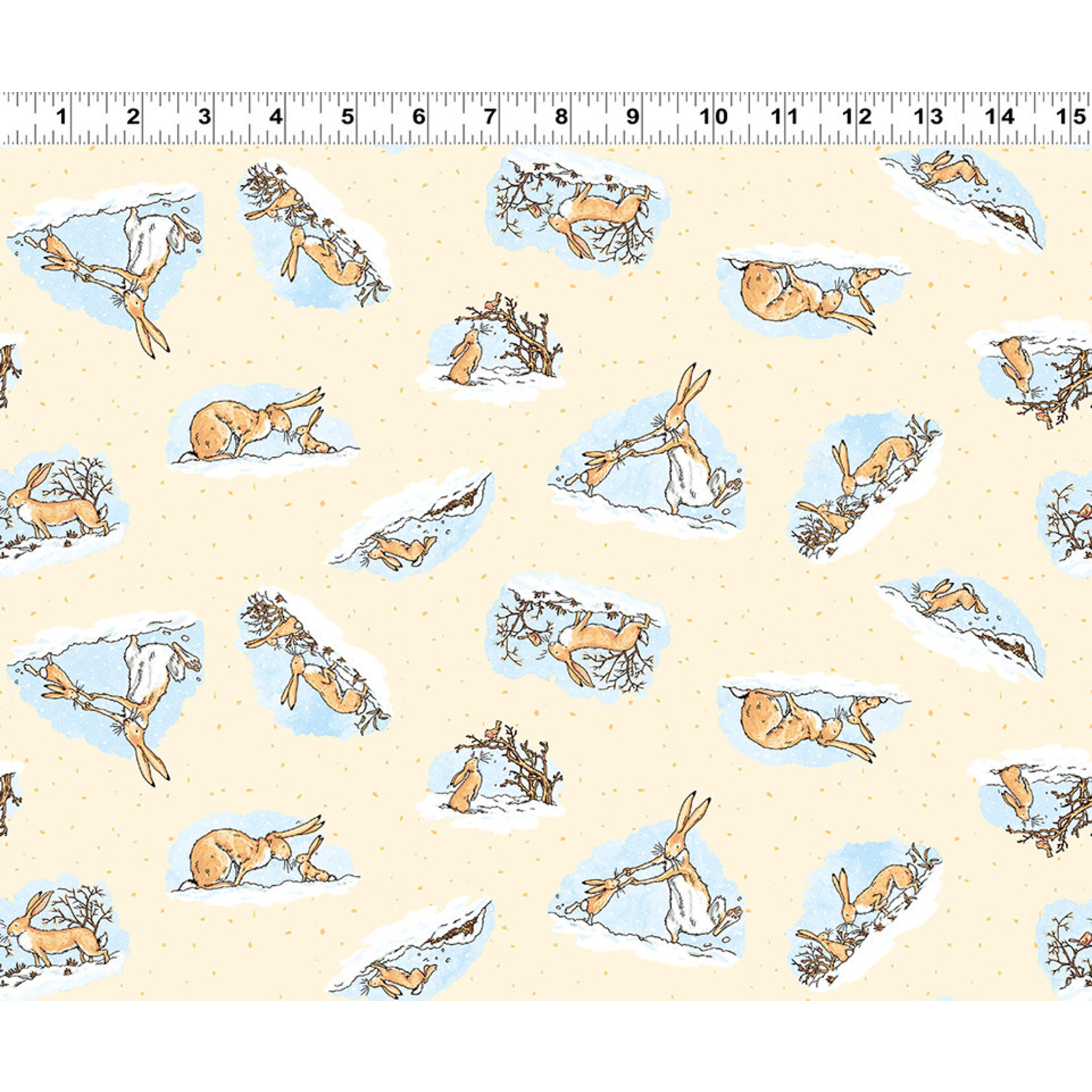 Clothworks Guess How Much I Love You, Tossed Scenes, Yellow (Y3081-59) per cm or $20/m