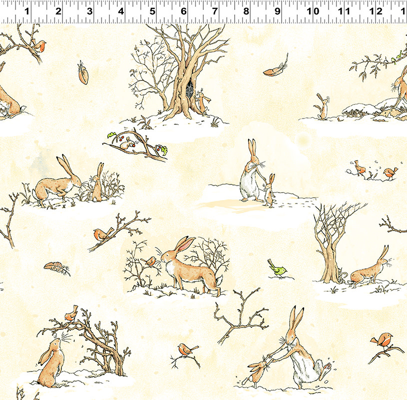 Clothworks Guess How Much I Love You, Scenes, Yellow (Y3080-58) per cm or $20/m