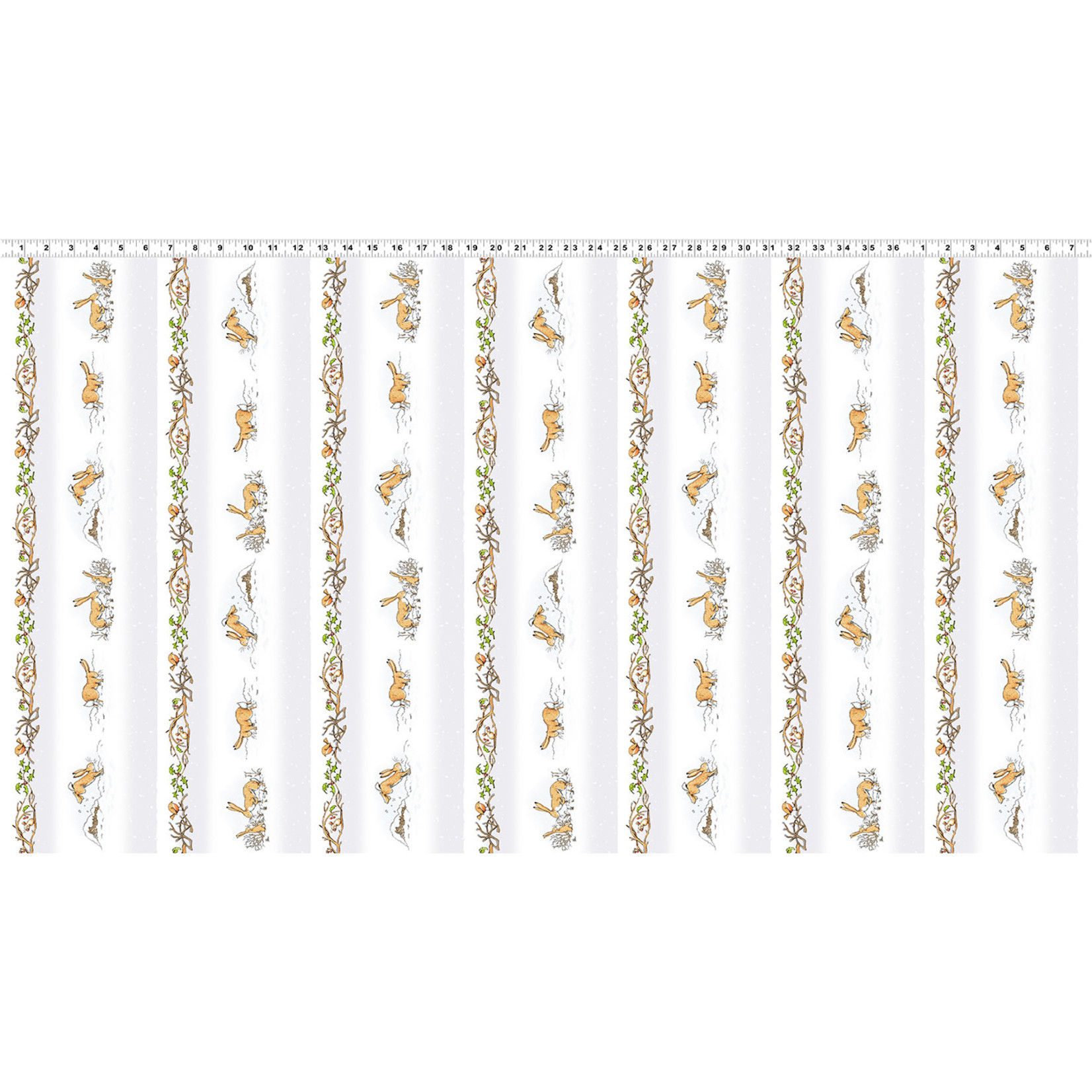 Clothworks Guess How Much I Love You, Border Print, White (Y3079-118M) per cm or $20/m