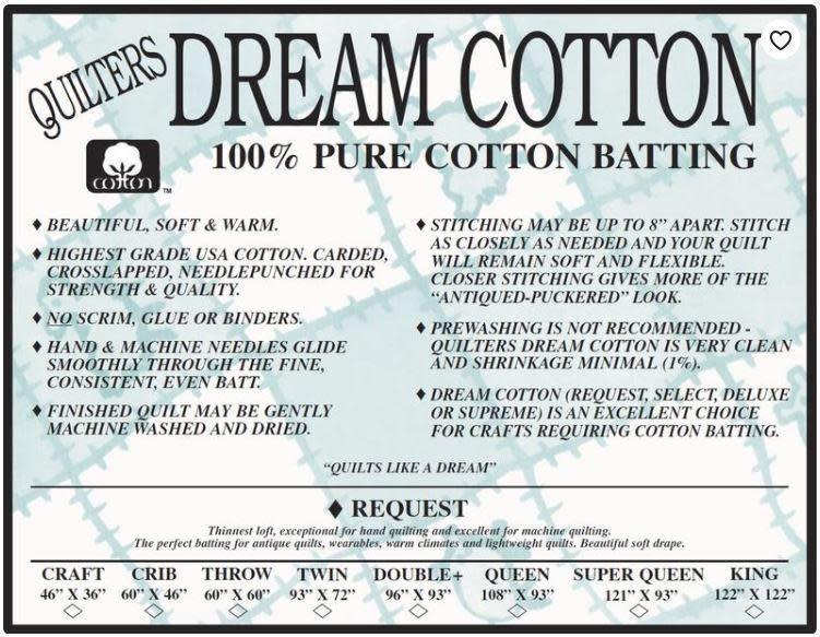 DREAM COTTON DREAM COTTON REQUEST THROW NATURAL BATTING