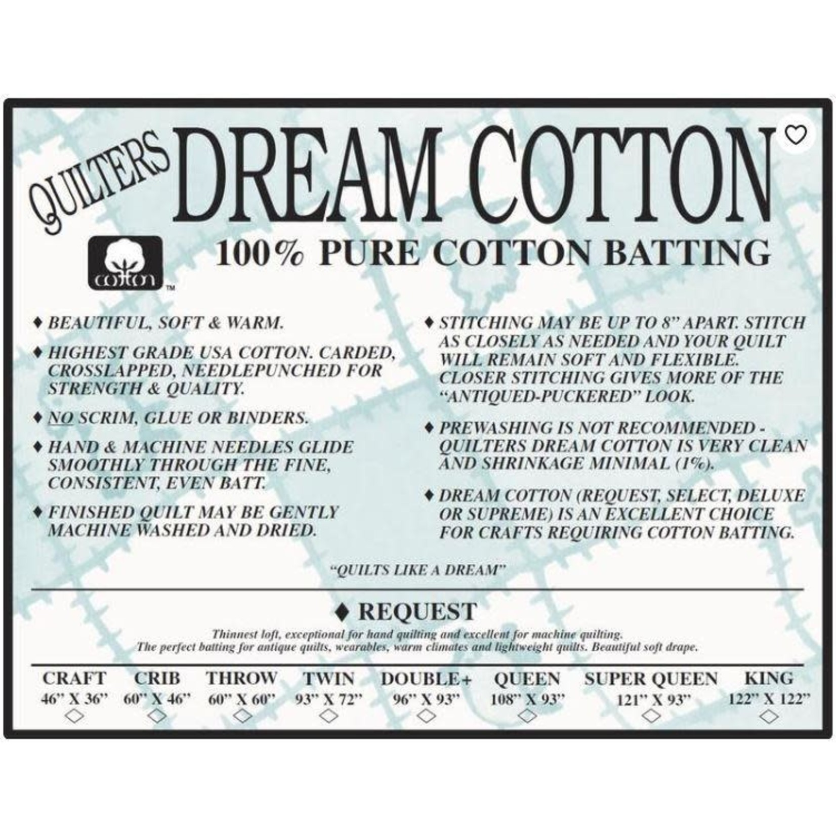Dream Cotton DREAM COTTON REQUEST CRIB NATURAL BATTING