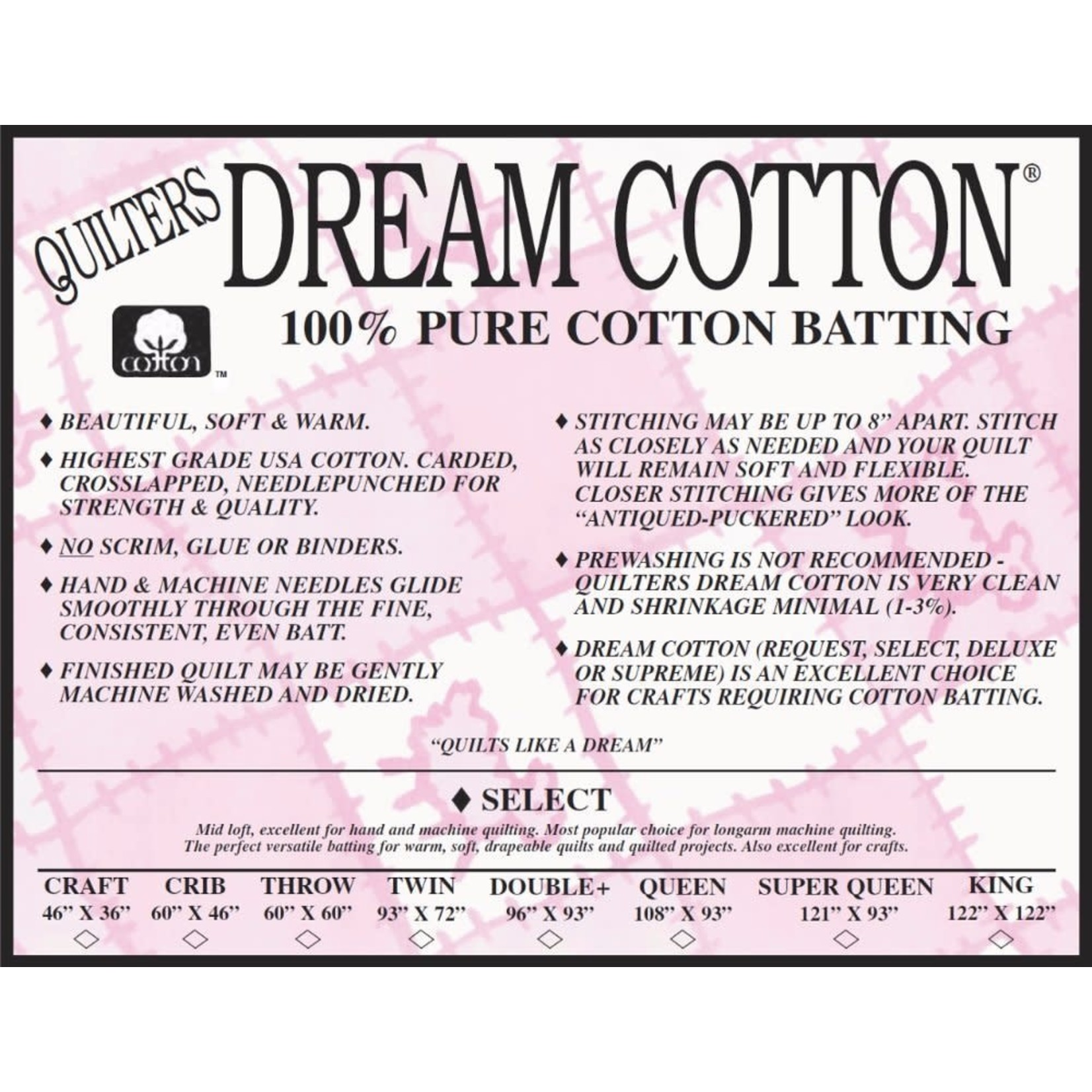 "DREAM COTTON Roll DREAM COTTON SELECT BATTING NAT 92"" WIDE   .20/CM OR $20/M"