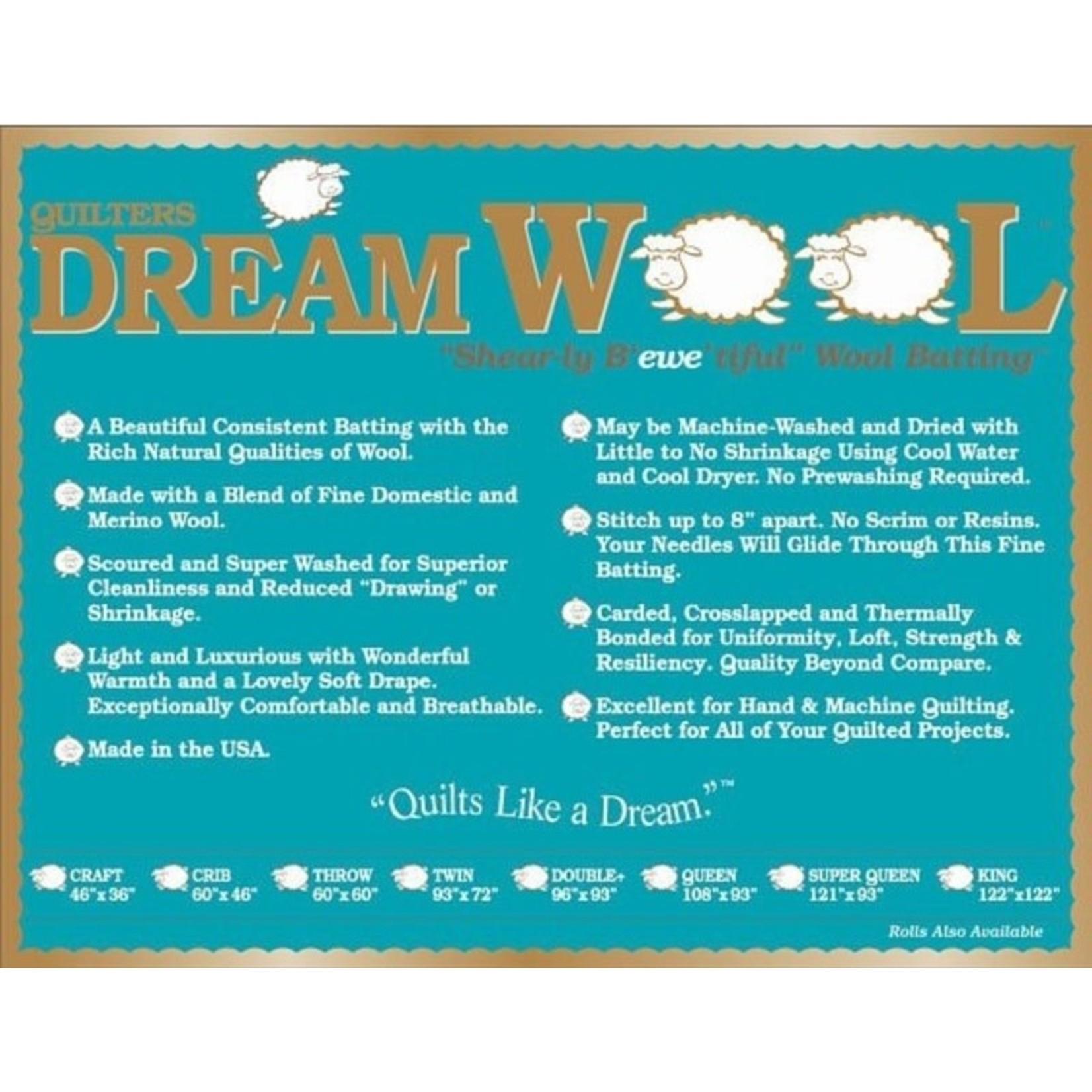 """Dream Cotton DREAM WOOL BATTING ROLL 120"""" .33/CM OR $33.00/M"""