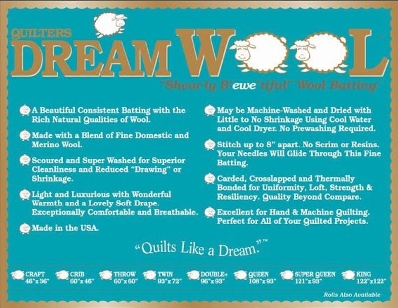 """DREAM COTTON Roll DREAM WOOL BATTING 120"""" .33/CM OR $33.00/M"""
