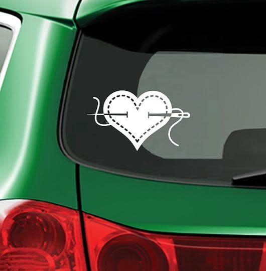 Fiber Flies Gifts I Heart Sewing - White - Vinyl Window Decal