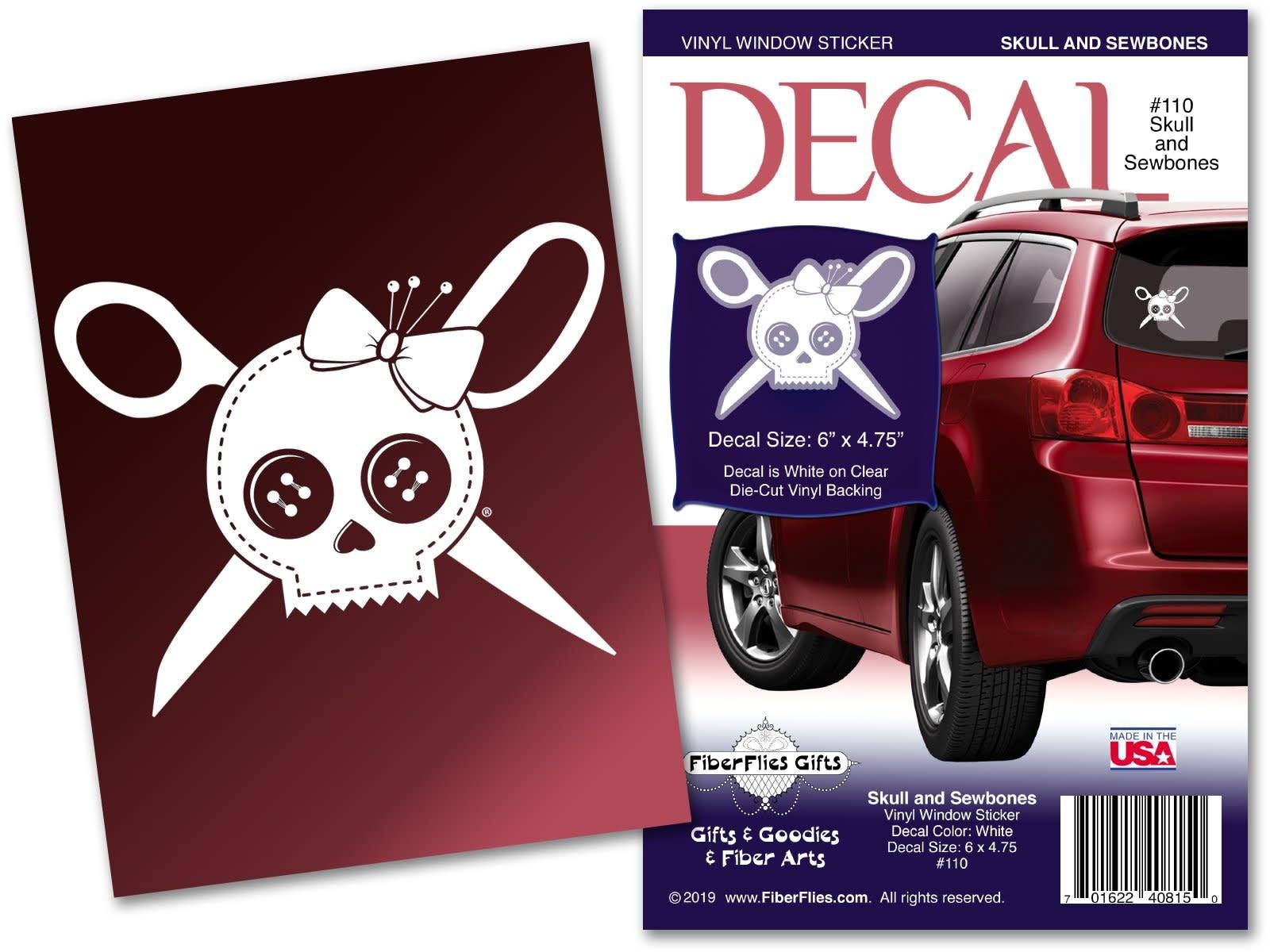 Fiber Flies Gifts Vinyl Window Decal Skulls and Sewbones