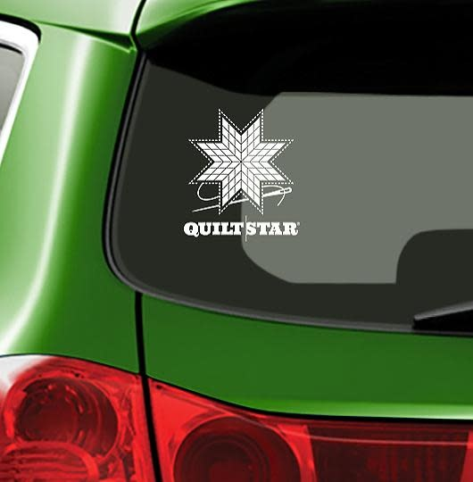 Fiber Flies Gifts Quilt Star - White - Vinyl Window Decal