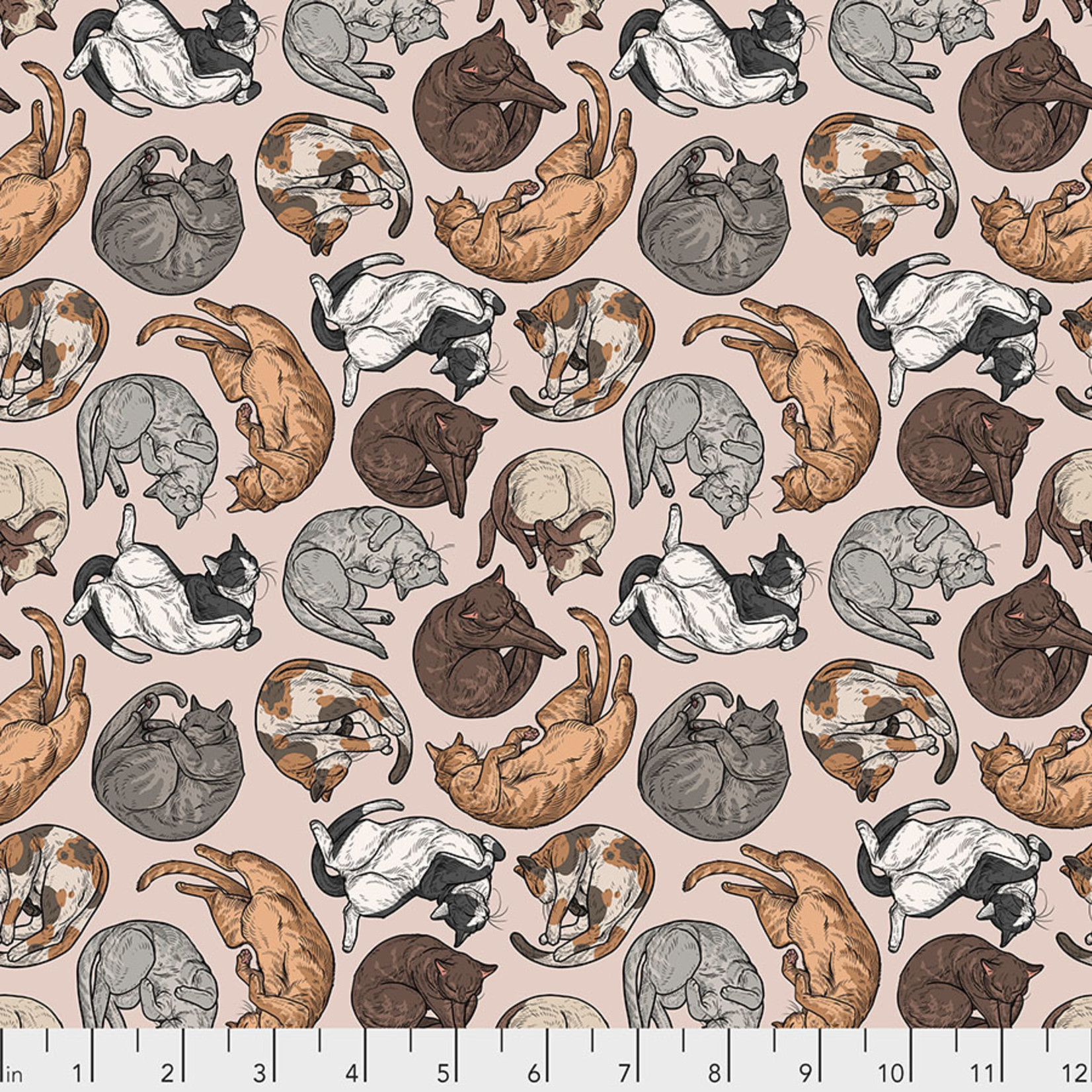 FREE SPIRIT Cat Tales, Cat Nap- Natural per cm or $16/m