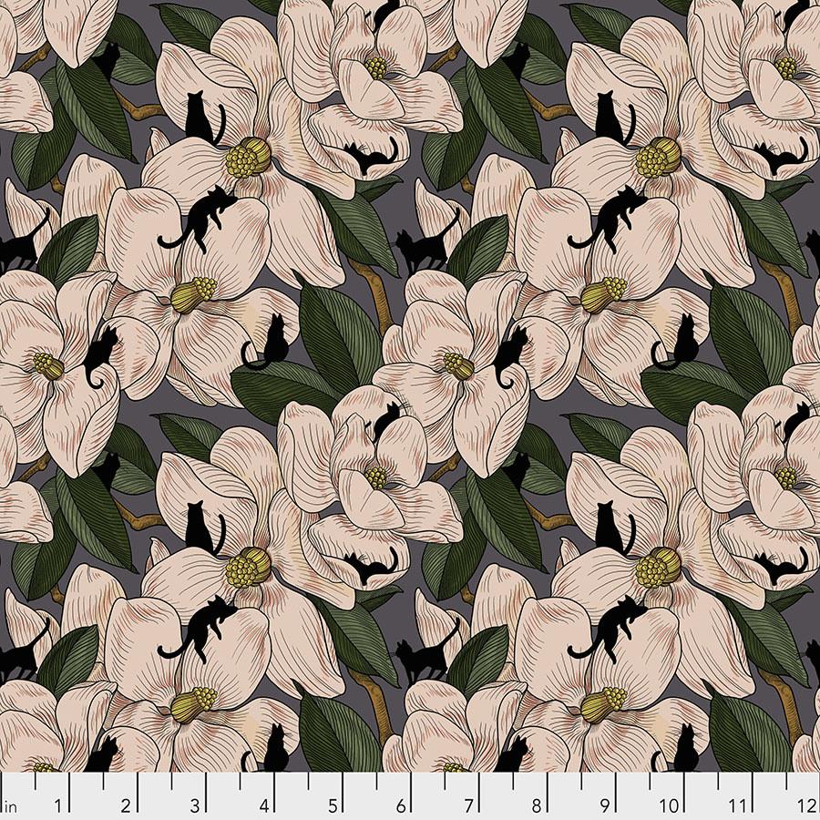 FREE SPIRIT Cat Tales, Magnolia Garden- Natural per cm or $16/m