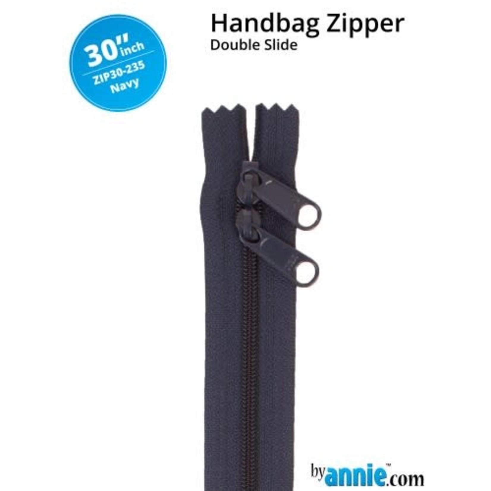 """By Annie Double Slide Handbag Zipper 30"""" Neutrals 235 Navy"""