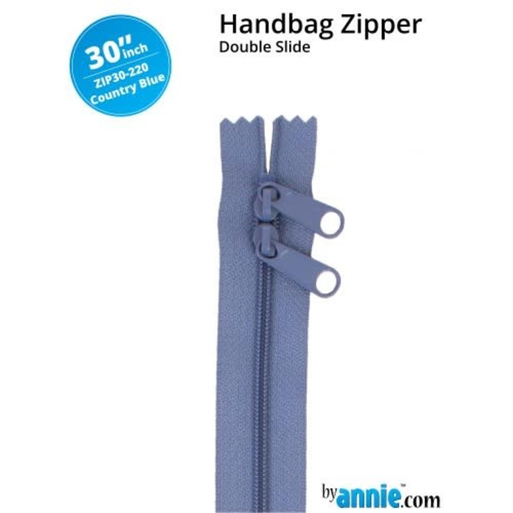 "BY ANNIE Double Slide Handbag Zipper 30"" Blue/Purple"