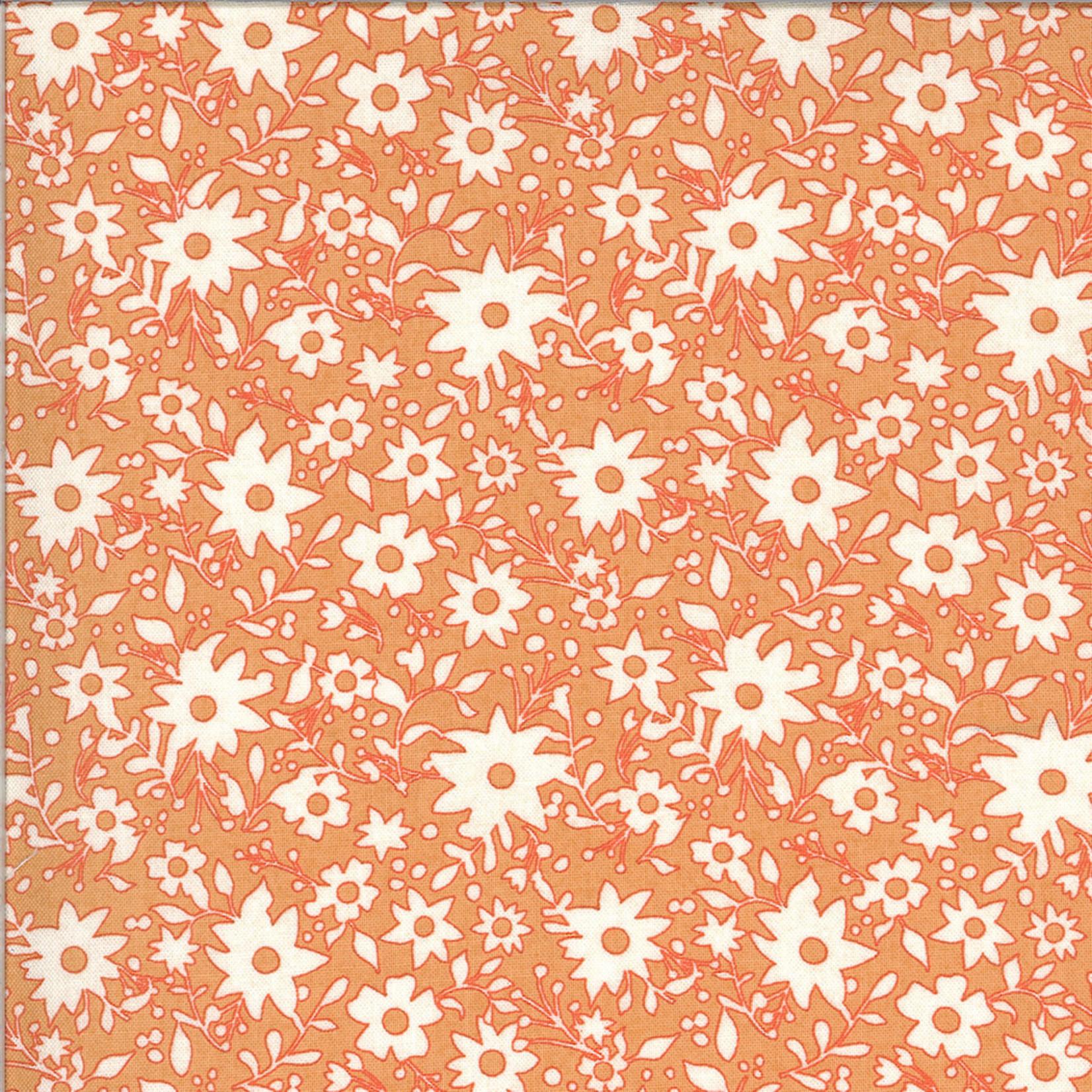 MODA Cider, White Flowers on Orange Cobbler (30645 12) per cm or $20/m