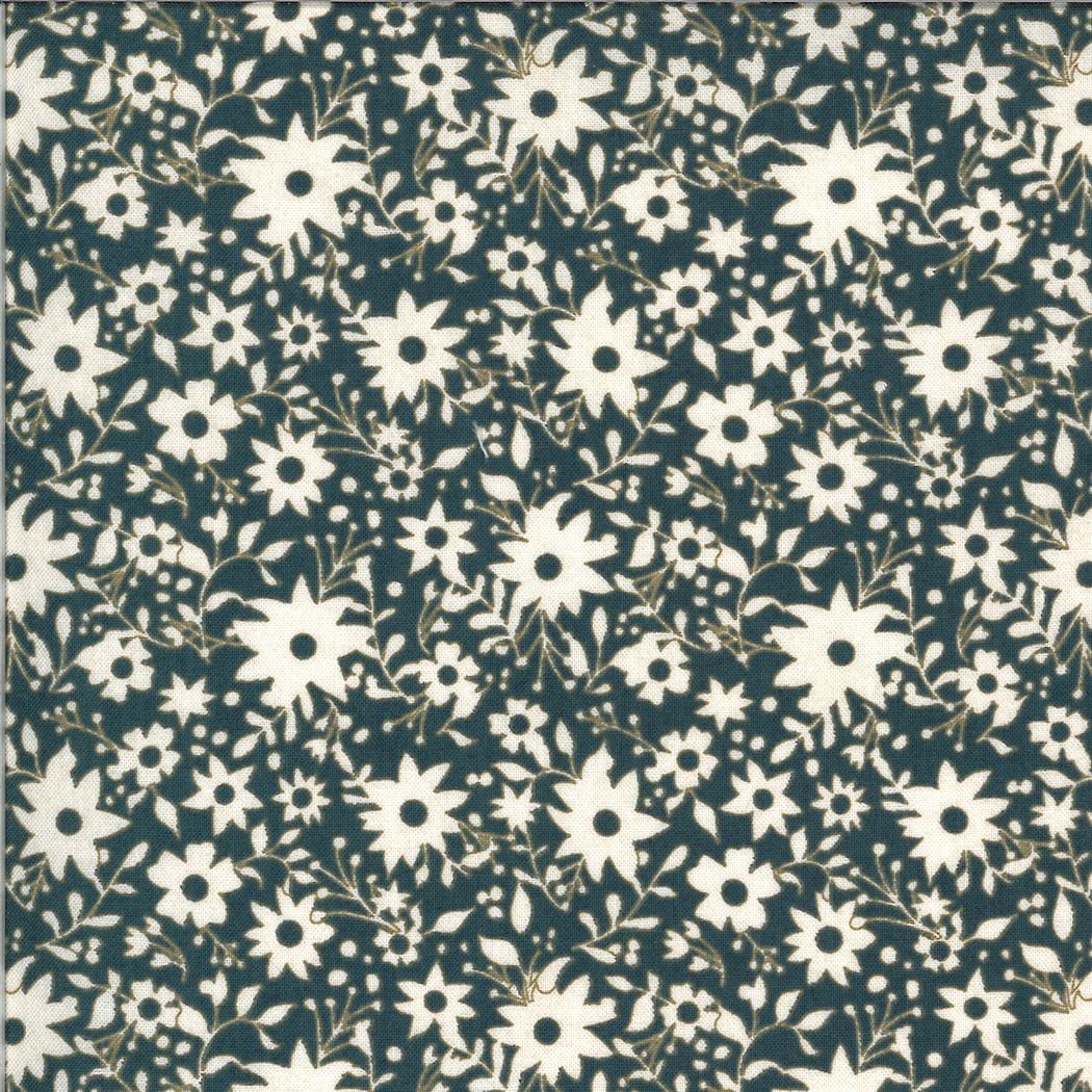 MODA Cider, White Flowers on Navy Marionberry Pie (30645 18) per cm or $20/m