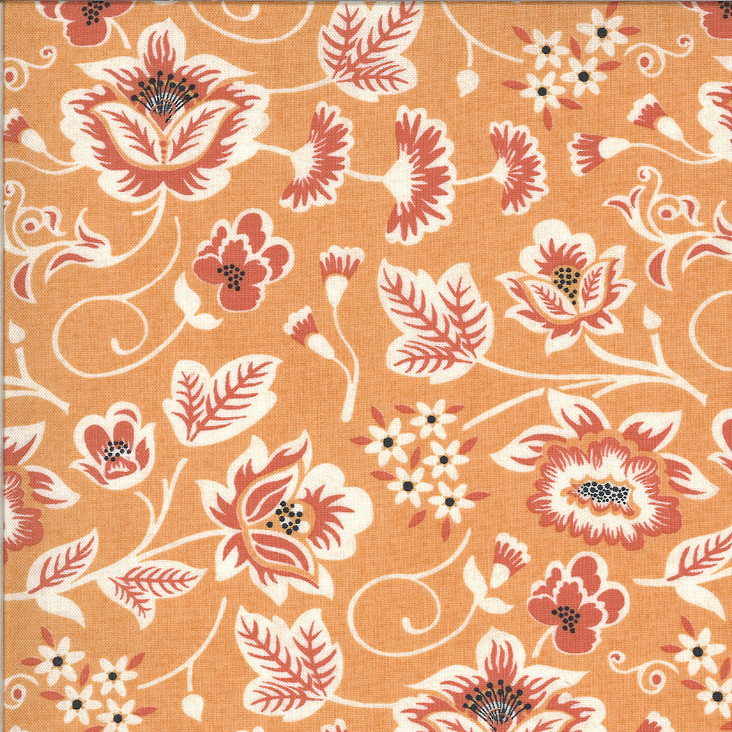 MODA Cider, Scroll Leaves and Flowers on Orange Cobbler (30641 12) per cm or $20/m
