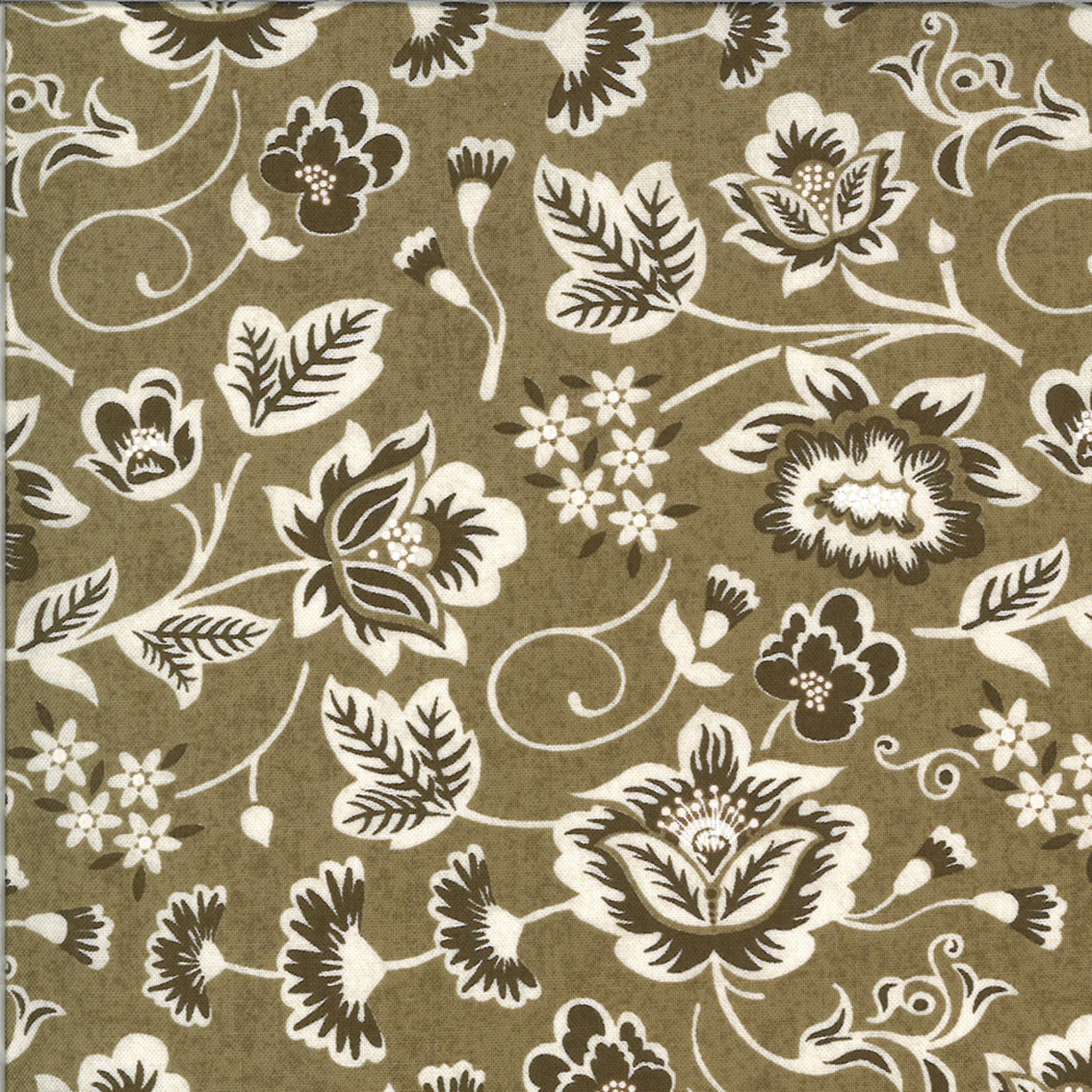 MODA Cider, Scroll Leaves and Flowers on Brown Golden Delicious Tart (30641 15) per cm or $20/m