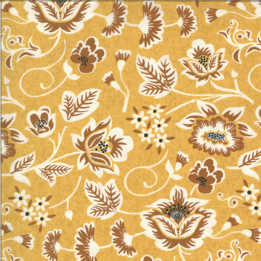 MODA Cider, Scroll Leaves and Flowers on Gold Mulled Cider (30641 14) per cm or $20/m