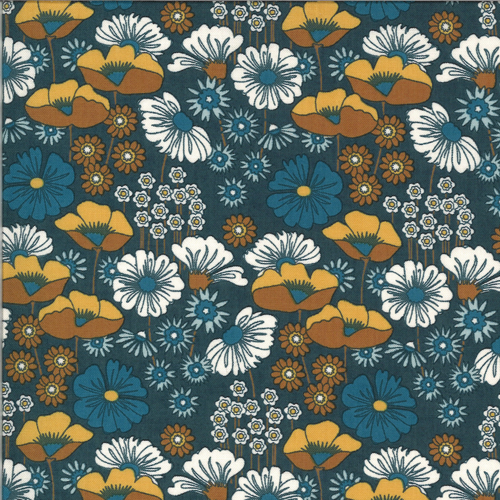 MODA Cider, Blue and Brown Poppies Blue Blueberry Buckle (30640 20) per cm or $20/m