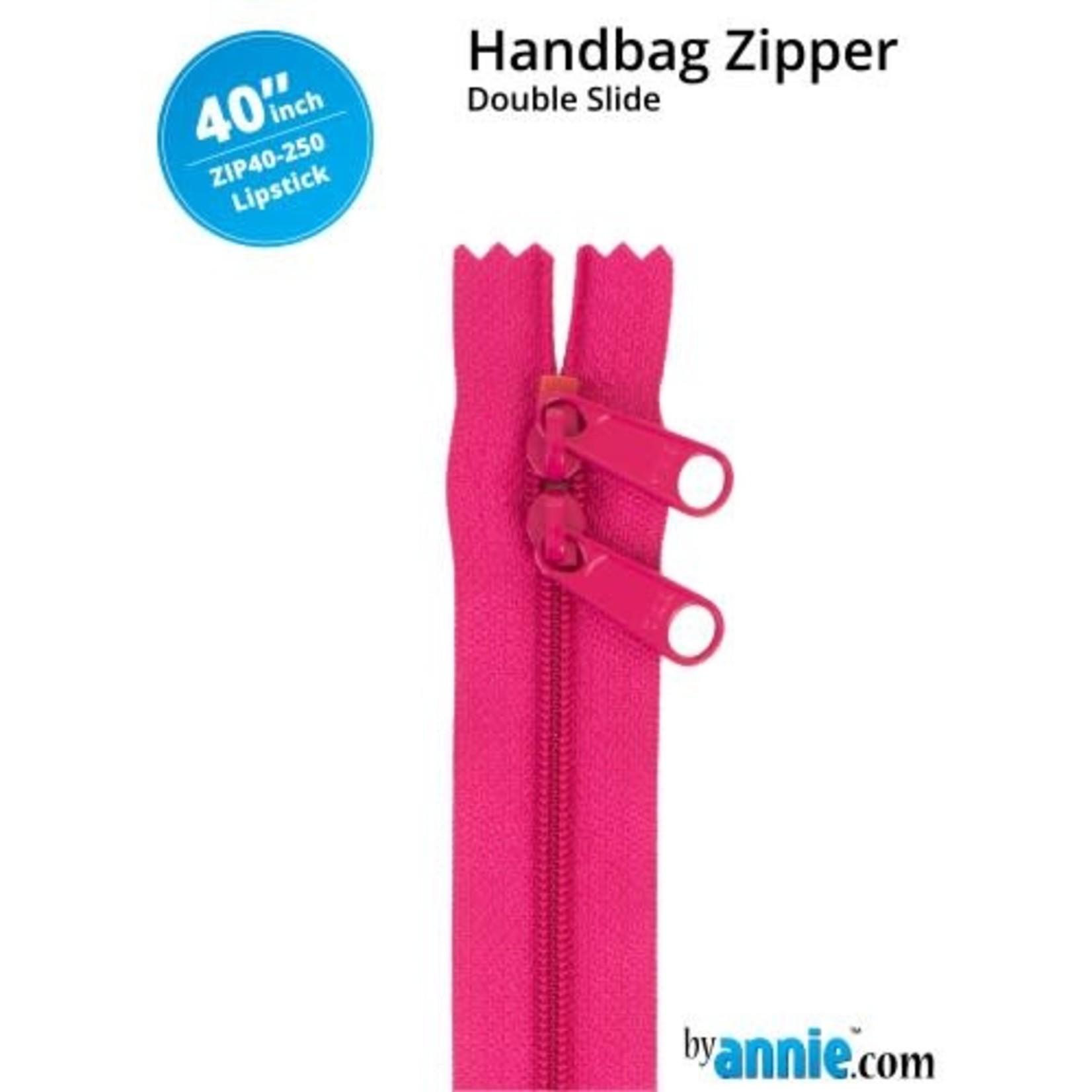 "BY ANNIE Double Slide Handbag Zipper 40"" Red/Pink"