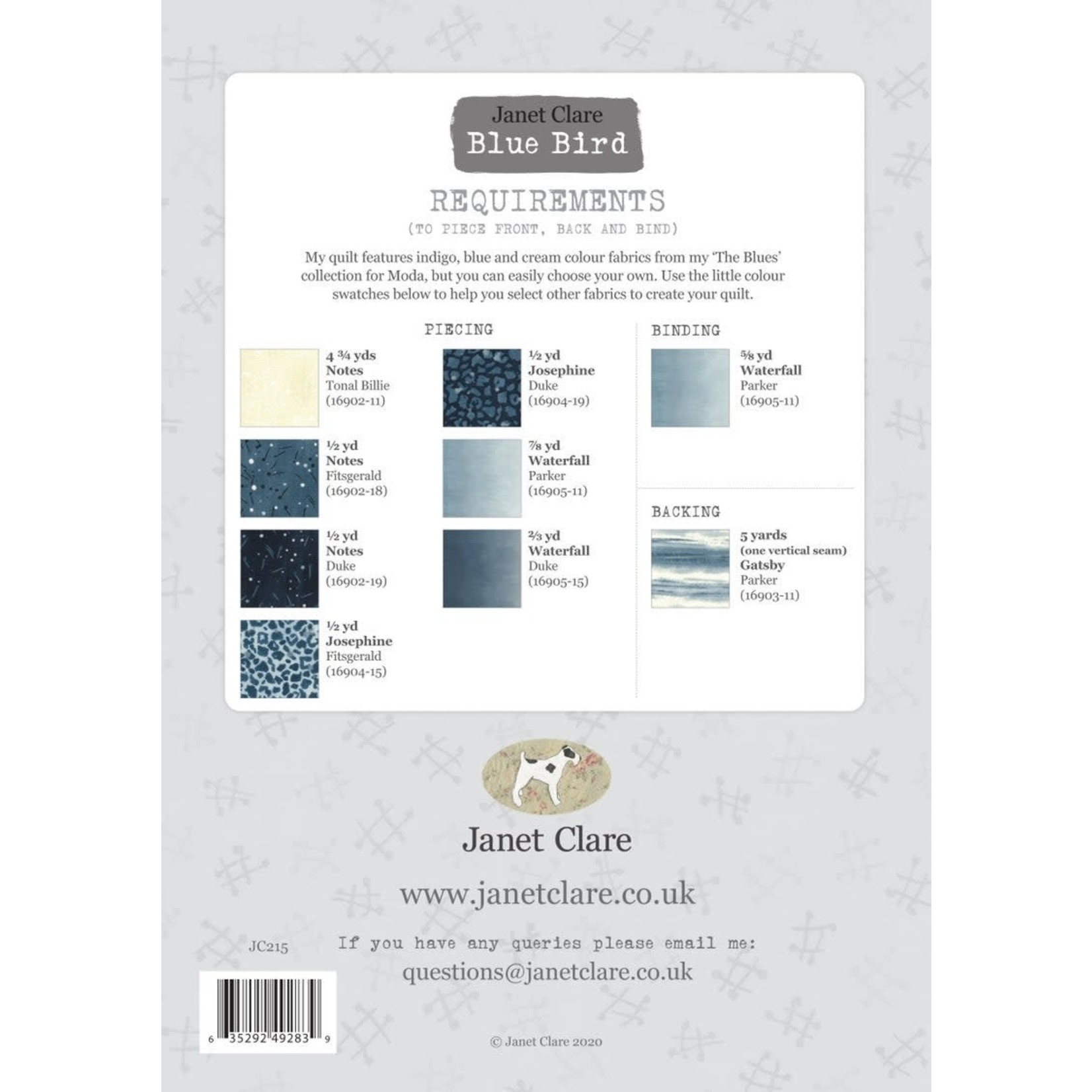 MODA The Blues - Blue Bird Quilt Kit by Janet Clare