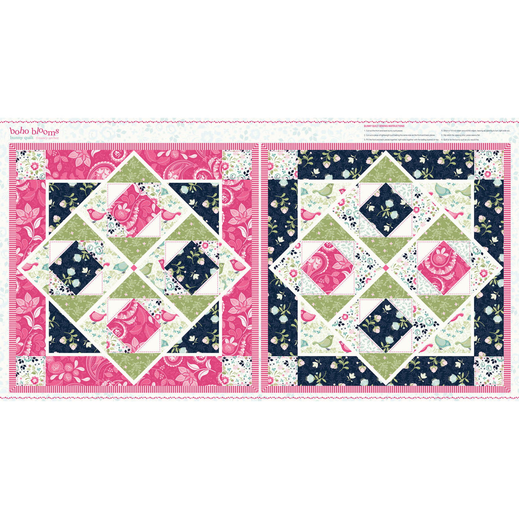 STUDIO E 50cm Square Panel - Boho Blooms, Bunny Cheater Quilt